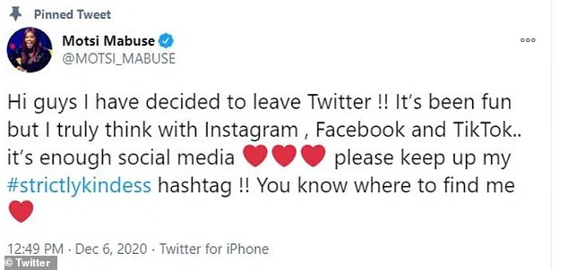 Motsi wrote: 'I¿ve decided to leave Twitter!! It¿s been fun but I truly think with Instagram, Facebook and TikTok.. it¿s enough social media'