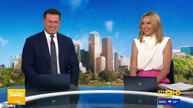 Sorry, Jas! Karl threw Jasmine under the bus on Friday when he revealed on the Today show that she spends recklessly using Instagram's shopping feature. Pictured on Today with Ally Langdon