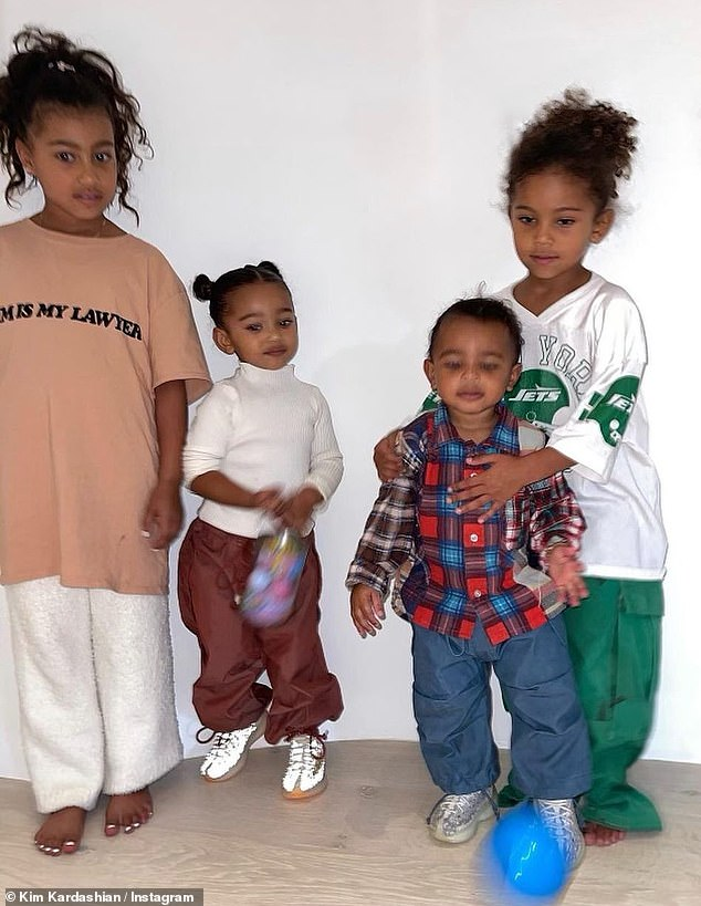In the photos: Kim's eldest daughter North, seven, stood next to her little sister Chicago, two