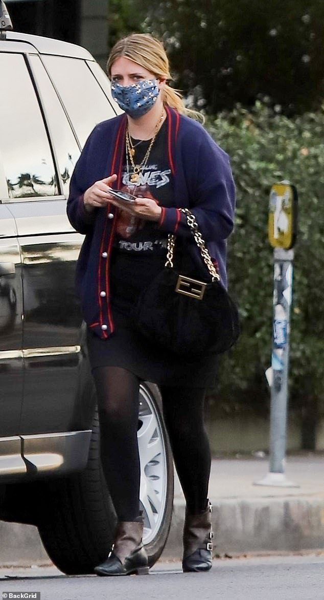 Mischa Barton is casually stylish in navy cardigan with black t-shirt and skirt for errands in LA