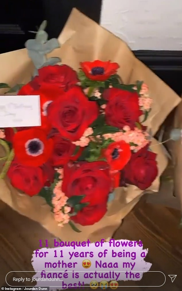 Celebrated: She was left stunned as she was sent 11 bouquets of flowers from her partner, real name Dion Hamilton, in December to mark every year of motherhood