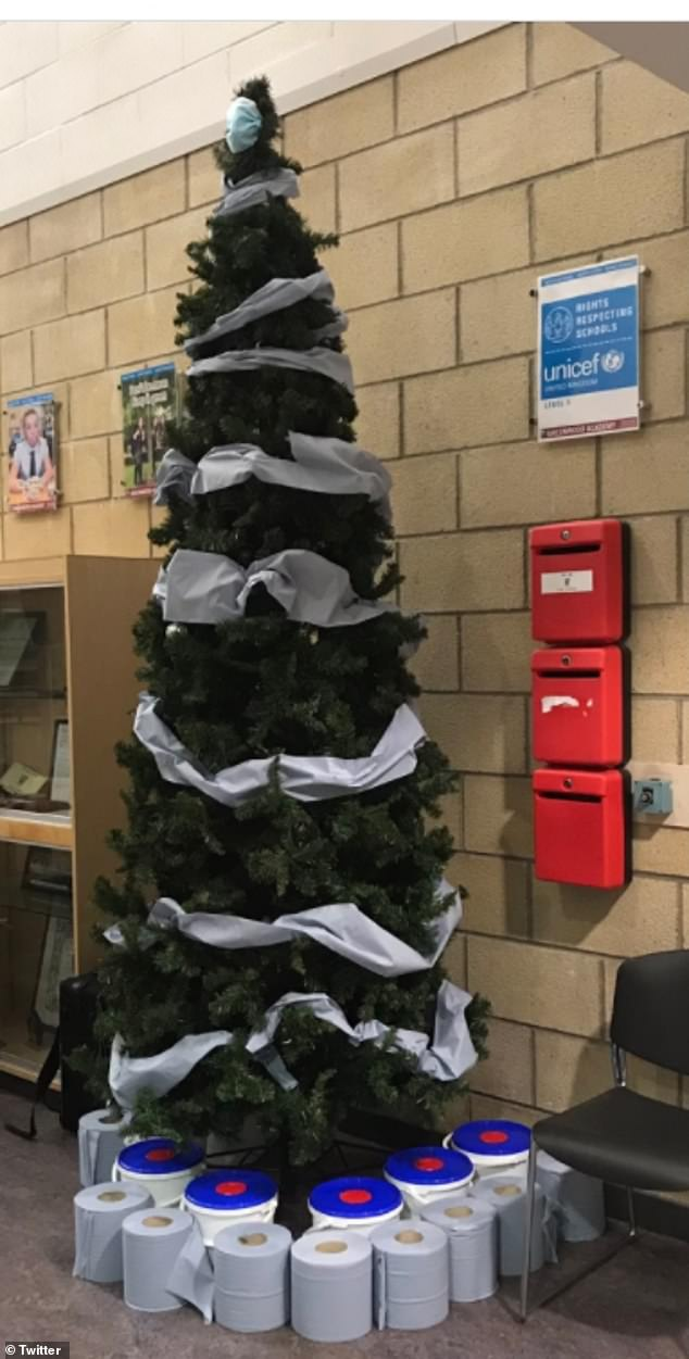 A new take on tinsel! This school in Scotland adorned their tree with blue paper towels and toilet paper