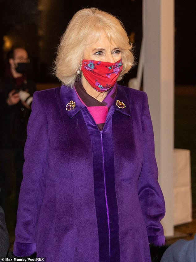 Bright and beautiful:Last night Camilla opted for a vibrant fuchsia mask with a floral design that complemented her purple coat and jewel-tone accessories. The designer is unknown