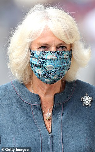 Camilla in a peacock print face covering by Fiona Clare in July