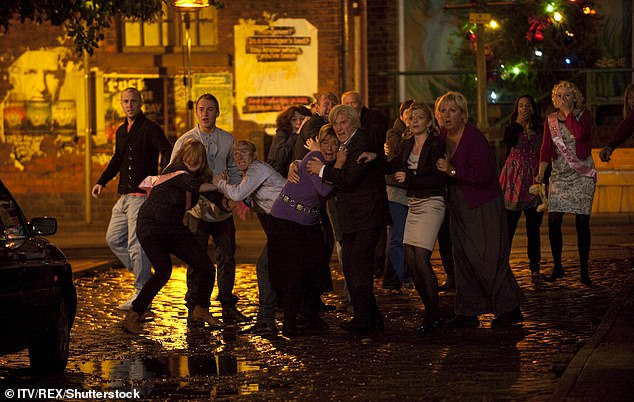 Disastrous: Coronation Street marked its 50th Anniversary in 2010 with an epic disaster which was a tram crashing onto the cobbles