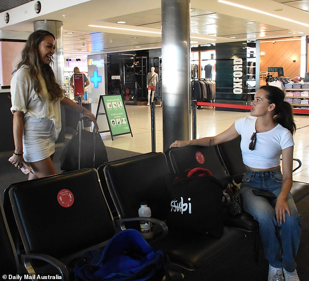 Fancy seeing you here!Ines was later seen relaxing in the departures lounge, before fellow Married At First Sight 'bride' Natasha Spencer miraculously appeared