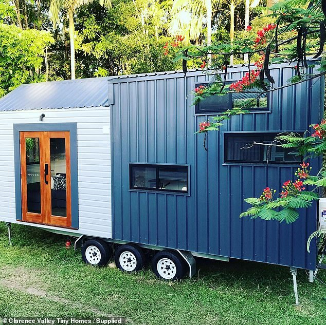 The first tiny house named 'The Iris' (pictured) is built on a 7.2m trailer and is approximately 2.4m wide and 4.3m high, which are the correct legal dimensions to meet caravan regulations