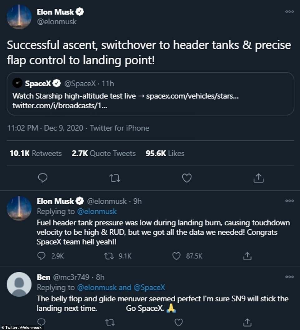 Mr Musk deemed the launch a success — saying that the prototype, even though it was destroyed, collected a trove of data that will bring SpaceX one step closer to sending humans to Mars aboard the rocket