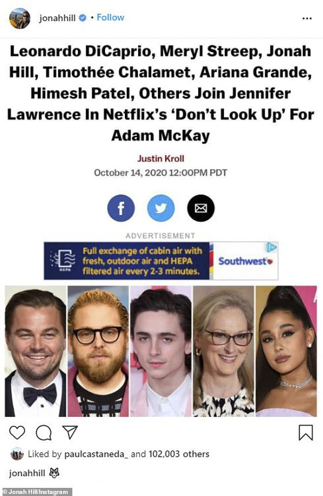 Castmate: Meryl's onscreen son Jonah Hill (2-L) - who plays her chief of staff Jason Orlean - posted the Deadline article on Instagram November 22 with a caption of a wolf head's emoji