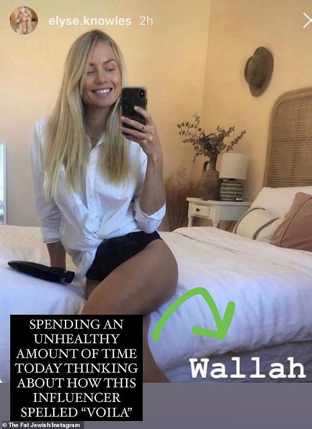 Oops: Elyse's gaffe can be traced back to August, when she shared a photo to Instagram Stories of herself posing on a bed in a white shirt, alongside the caption: 'Wallah' (pictured)