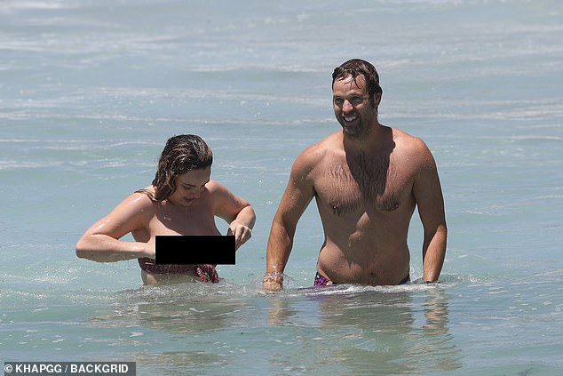 Abbie Chatfield suffers MAJOR wardrobe malfunction with boyfriend Danny Clayton in Bondi