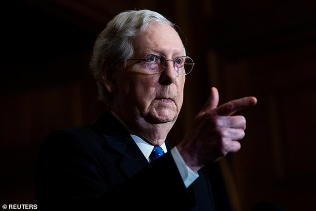 Senate majority leader Mitch McConnell, pictured, says Republican lawmakers will not support a $160billion aid package for state and local governments