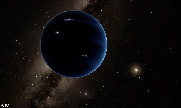 Planet Nine, with 10 times the mass of Earth, located beyond the dwarf planet Pluto, is the Holy Grail among many astronomers.  Painted, artist's impression of the fictional planet