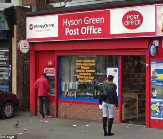 The ATM at the post office in Hyson Green, Nottingham, was doused with a silly rope (file image)