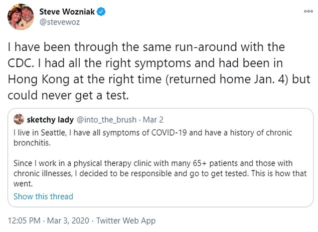 Wozniak was tweeting about his illness as far back as January. He continued to publicly theorize he was infected with COVID-19 in March