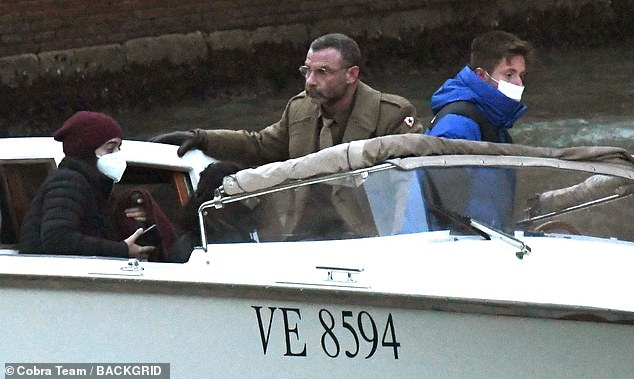 Filming: Liev Schreiber was seen shooting scenes for the upcoming film adaptation of Ernest Hemingway's novel on a speedboat in Venice on Friday