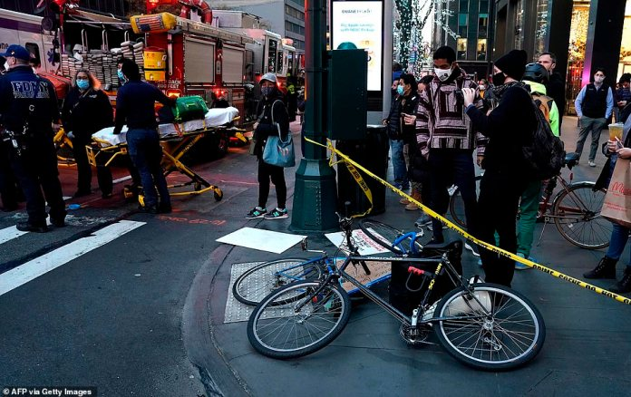 Bikes lay on the ground after a car hit several Black Lives Matter protesters in Manhattan