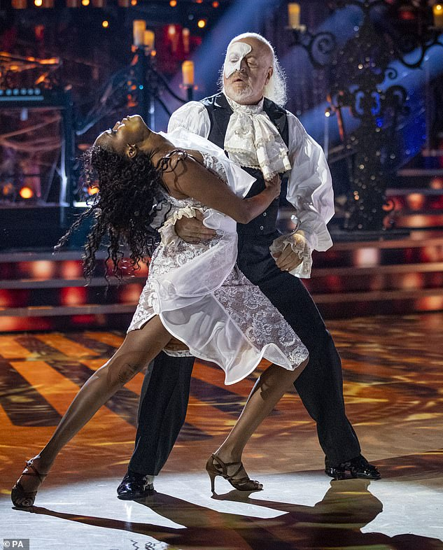 Thoughts: Bill, who has lost a stone and a half since the start of the series, said: 'I'm going to have to buy some new clothes - it's on my Christmas list' (pictured with pro partner Oti Mabuse)