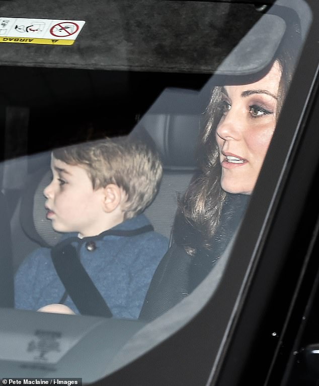 In previous years the same 'Austrian wool' jacket was worn by his older brother Prince George, pictured here in 2017 on the way to the Queen's Christmas lunch with mother Kate
