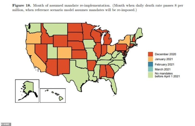 The models assume that the states highlighted in orange will introduce new mandates this month to fight rising infections