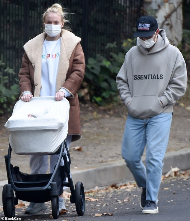 Sophie Turner shows off street style in fleece-lined coat as she and Joe Jonas take Willa for stroll