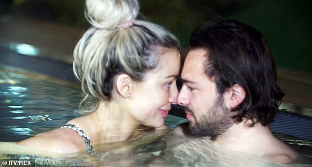 Cosy: Olivia Attwood, 29, will enjoy a much-needed break with her fiancé Bradley Dack in Sunday's episode of her ITVBe series as they have a steamy night together in the hot tub