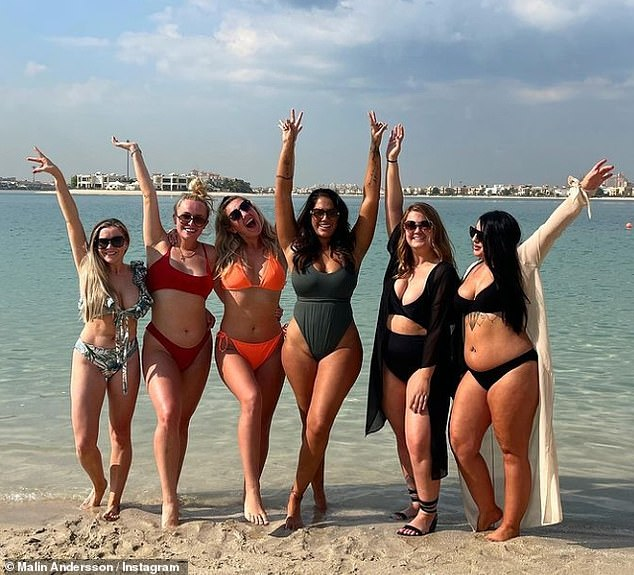 'Every body is a bikini body' Love Island's Malin Andersson promoted body positivity as she slipped into a chic grey swimsuit during her Dubai getaway with her friends on Saturday