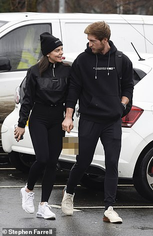 Ready to go: During their outing together later in the day, Faye put on a casually chic display in an all-black ensemble as she paired a chic jacket with gym leggings
