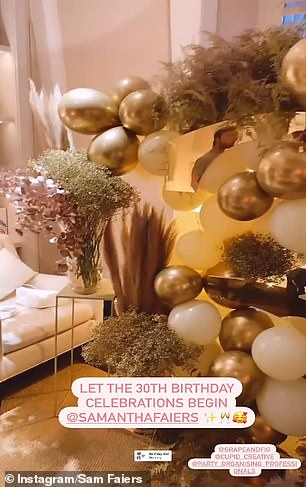 Decorations:A series of video clips saw the room heavily decorated with gold and white balloons and extravagant floral bouquets as they shot scenes for their reality TV show
