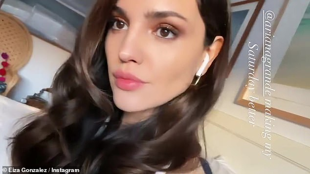 Full glam:Later in the day, Eiza returned to Instagram to show off her noticeably made up face and glamorously curled hair