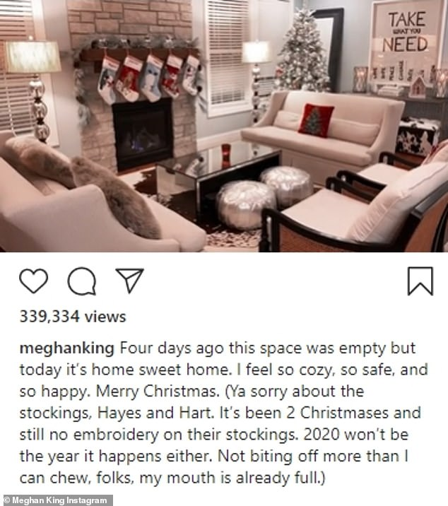 Pristine: King's video showed a living room that was orderly and decked out in pristine Christmas decorations
