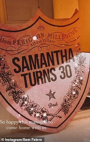 All in the details: Her 'Samantha Turns 30' banner was also on display