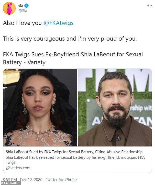 'I believe he's very sick':'I too have been hurt emotionally by Shia, a pathological liar, who conned me into an adulterous relationship claiming to be single,' claimed Sia, 44
