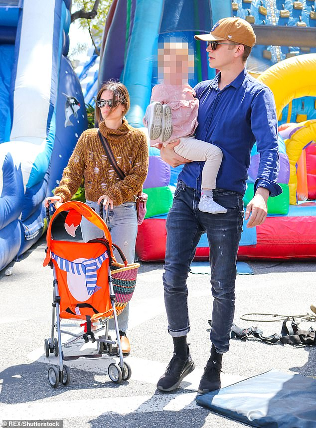 Happy family: The actress and the screen star, both 39, have maintained an amicable relationship (pictured with their daughter Briar, six, in May 2019)