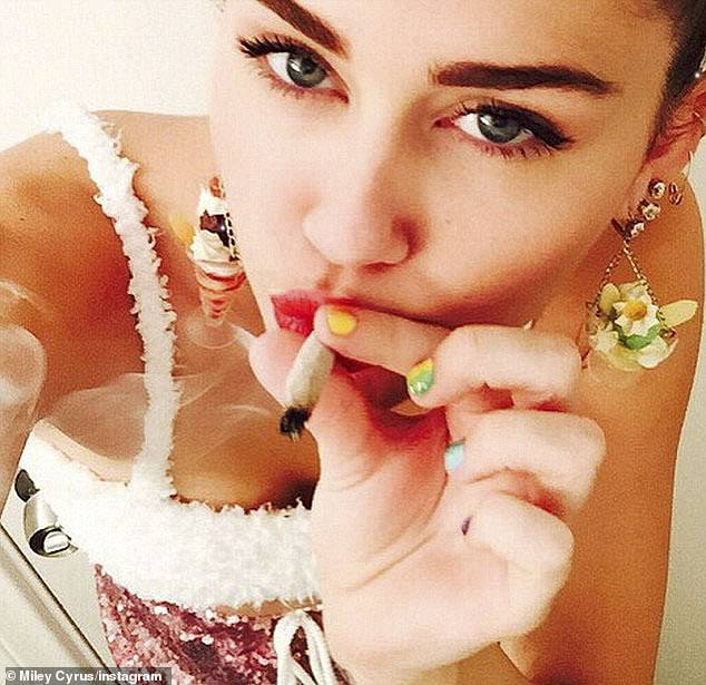 Rebellious: While the 28-year-old apologized for disappointing fans at the time, she celebrated the incident of her smoking a psychedelic herb salvia on Sunday