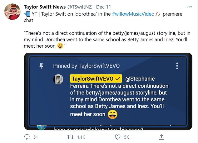 'Soon': Swift told fans they would meet Dorothea 'soon' while mentioning Lively's children by name, including Betty, whose name was revealed on Taylor's latest album