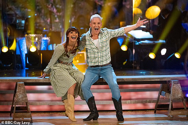 Dance off: Jamie Laing and dance partner Karen Hauer were saved after the dance-off – despite being odds-on favourite to leave after being in the dance-off four times