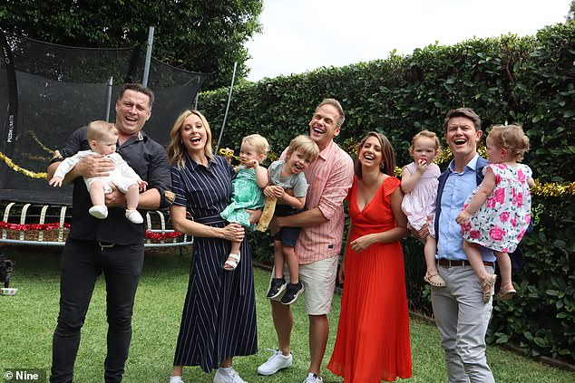 Today hosts Karl Stefanovic, Allison Langdon Alex Cullen gather for a Christmas ad with their kids