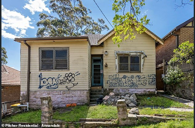 The three-bedroom home is located at 13 Alfred Street Marrickville in Sydney's inner west and is 'unliveable' (pictured)