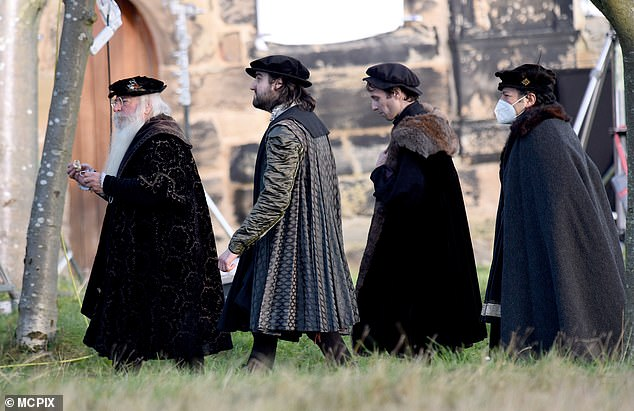 Other members of the cast were seen filming the new show earlier today outside a church