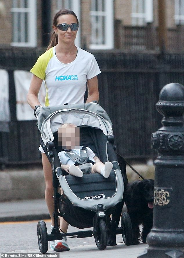 The sister of Kate Middleton , 37, is said to be 'thrilled' to be expecting with her husband James Matthews. She is pictured in Chelsea with her son Arthur