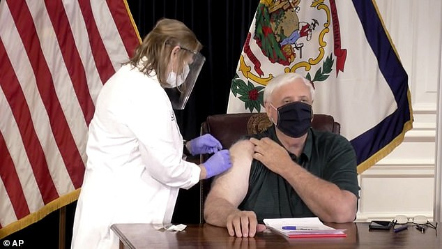 West Virginia Governor Jim Justice also received the coronavirus vaccine Monday