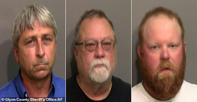 Bryan Jr (left), Gregory McMichael (center) and his son Travis (right) are facing murder charges