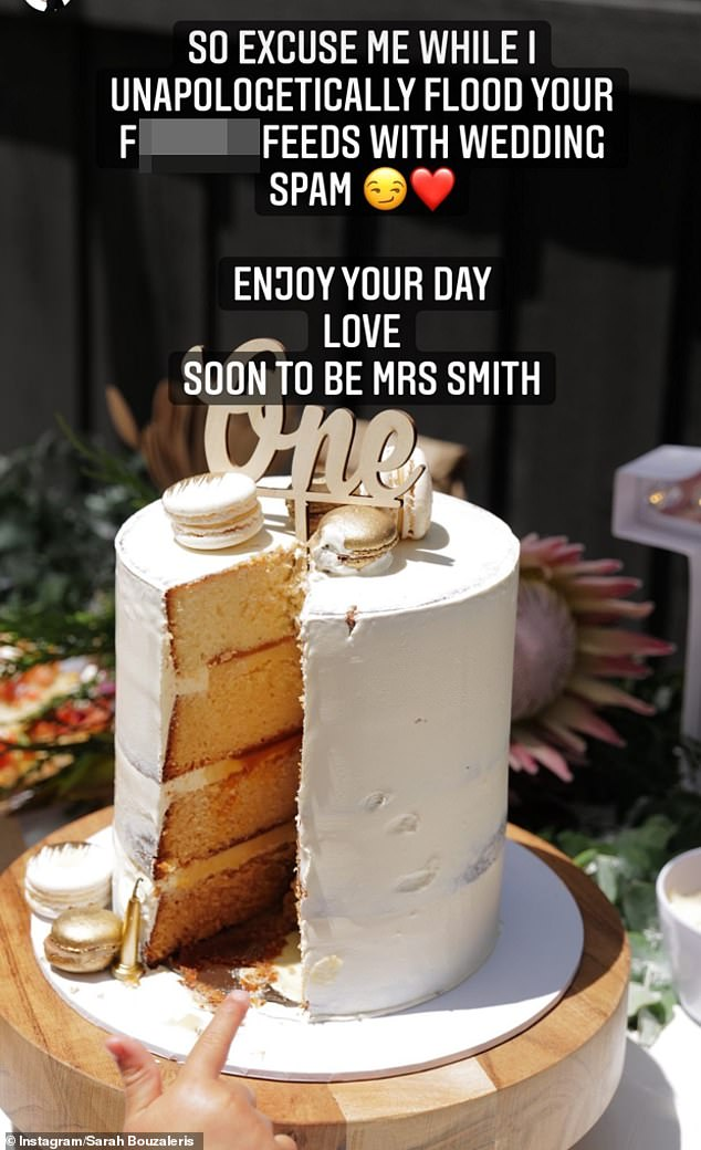She finished the post by saying: 'So excuse me while I unapologetically flood your f**king feeds with wedding spam. Enjoy your day. Love soon to be Mrs Smith'