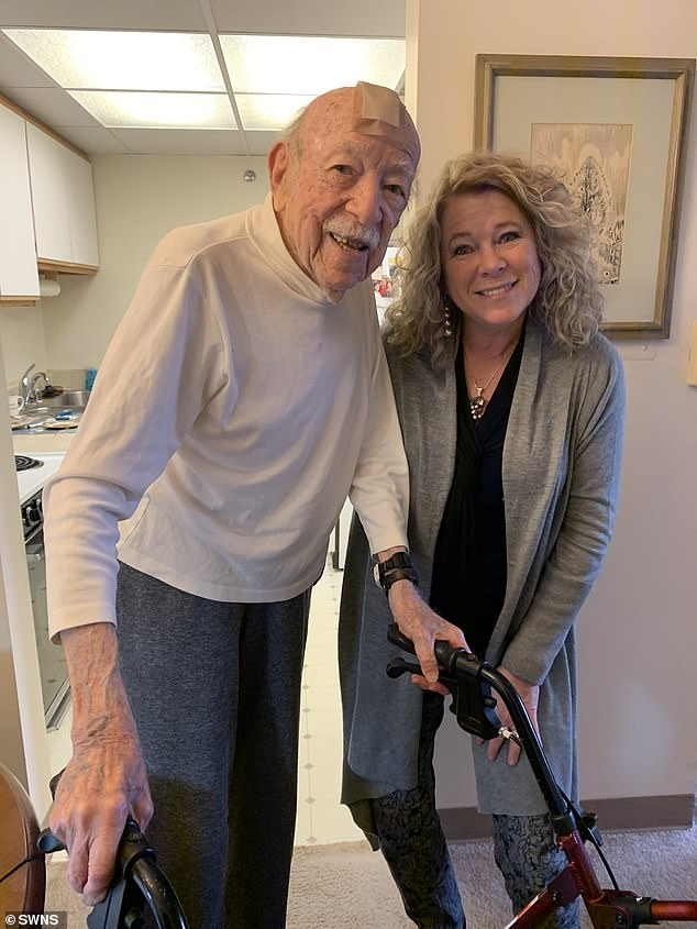 Jaime Hall, 61, (right) is one of six siblings who traced their paternal DNA to Dr Philip Peven, 104, (left) via a 23andMe kit decades after he treated each of their mothers