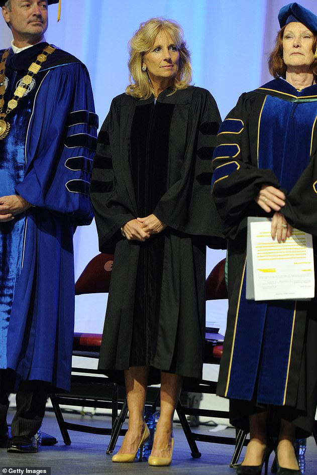 Jill Biden gives the commencement speech at Broward College on May 4, 2012, in Fort Lauderdale, Florida