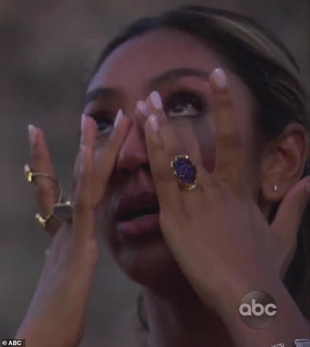 Final four:Tayshia Adams had a brutal time narrowing down her suitors to the final four on Monday's episode of The Bachelorette