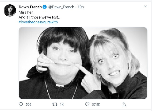 Tribute: Dawn also took to Twitter to post a sweet snap with Emma on the show in its heyday, writing: 'Miss her. And all those we've lost... #lovetheonesyourewith'