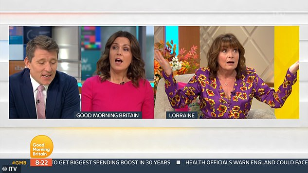 Rant: A few weeks before, the mother-of-one said she was 'so frustrated' that a decision had not been made to 'save lives' on GMB (pictured with Ben Shephard and Susanna Reid)