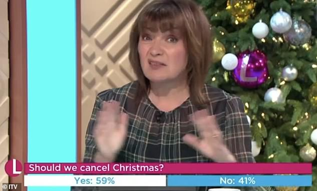 'I don't think we should': On Monday's episode, the broadcaster appeared to have had a change of heart after previously calling for the UK government to shut down Christmas